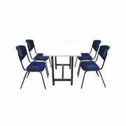 Ms,Plastic Cafeteria Chairs And Table Set, For Hotel,Restaurant, Seating Capacity: 4