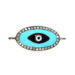 Gemco Designs Evil Eye Silver Connector Finding Diamond Enamel Jewelry