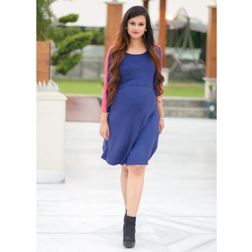 1ff4b789f7e Navy Blue Chic Maternity   Nursing Dress
