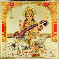 Saraswati Poster in Gold Foil 24K Religious Frame