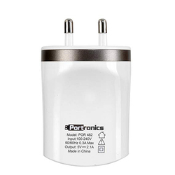 PORTRONICS 2.1 Dual USB Charger For Mobile (White)