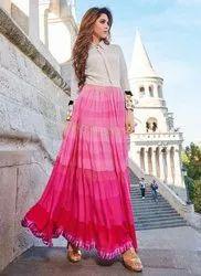 Western Pink Printed Festival Wear Gown