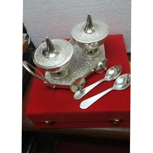 Silver Plated Items - Silver Plated Tray with Dry Fruit