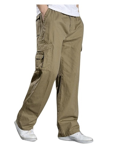 6f4c0ce7fad Men' s Full Elastic Waist Cargo Pants Lightweight Cotton Workwear Pants