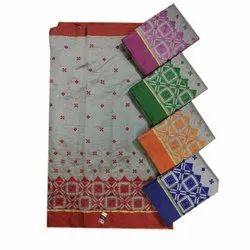 Casual Wear Cotton Resham Embroidery Saree, 5.5 m (separate blouse piece)