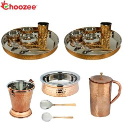 Choozee - Stainless Steel Copper Thali Set with Serveware & Hammered Pitcher Jug (19 Pcs)