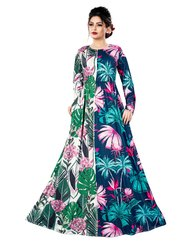 Justkartit Digital Tropical Flower Printed Long Maxi Gowns Dress for Women
