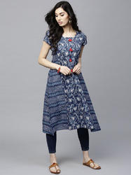 BLUE PRINTED A-LINE KURTA WITH TUSSEL