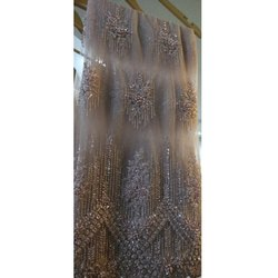 Net Embroidered Lehenga Fabric, Packaging Type: Roll