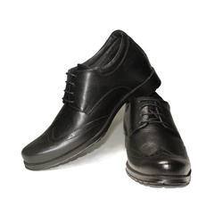 Black Mens Casual Leather Elevator Shoes, Size: 6-9