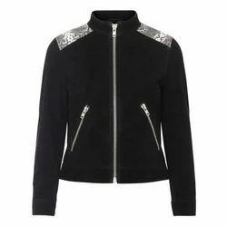 Leather Ladies Black Full Sleeve Jacket