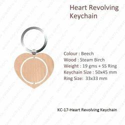 Wooden Keychain-KC-17-Heart Revolving Keychain