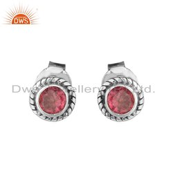 Pink Tourmaline Gemstone Oxidized Silver Stud Earrings