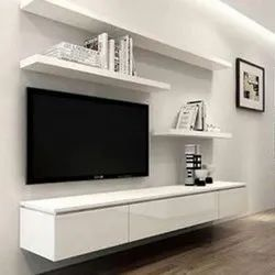 White Wall Mounted Wooden TV Cabinet