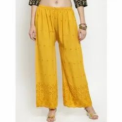 Regular Fit Thread Work Cotton Palazzo Pants, Waist Size: 26-36