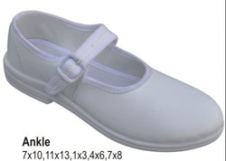 Poddar Girls Ankle White School Shoe