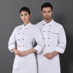 Cotton White Hotel Chef Uniform Coats, Size: Medium