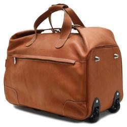 Brown Leather Luggage Trolley Bag