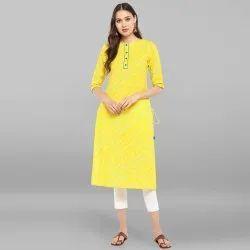Yellow Pure Cotton Kurta With Pant(SET116)