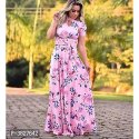 Party Ladies Printed Floor Length Rayon Gown, Size: L-xxl