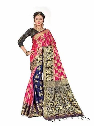 35088a6014 Party Wear Rich Pallu Banarasi Silk Saree, 6.3 M (with Blouse Piece ...