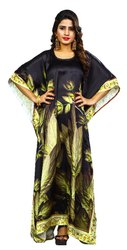 Floral Printed Casual Wear Free Size Satin Silk Kaftans Kurtas For Women