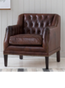 Brown Leather Tuffted Sofa And Std Chair