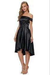 Party Wear Black Women Asymmetrical Dresses