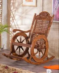Brown Wooden Rocking Chair, for Anywhere, Back Style: Tight Back
