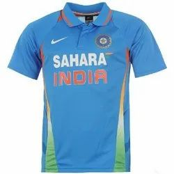 Printed Half Sleeves Sky Blue Polyester Mens Cricket T-Shirt, Size: M