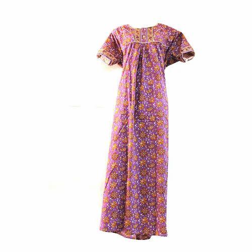 Multicolor Cotton Women  s Designer Nighty 8532b7475