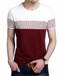 Seven Rocks Cotton Red & White Designed Mens T Shirt, Size: S to XXL, Age Group: 16 To 75