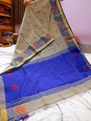 Handloom Thread Work Sarees, With blouse piece, 5.5 m (separate blouse piece)