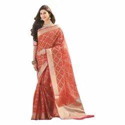 GCS Ethnic Red Banarasi Cotton Saree