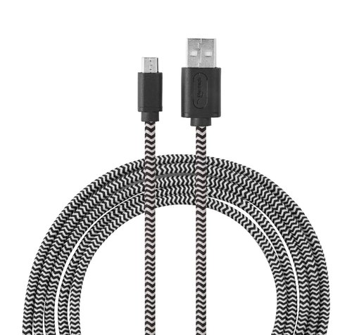Dual Braided Grey- Black Nextech Micro USB 2.0 Sync & Charge Shielded Cable 3m