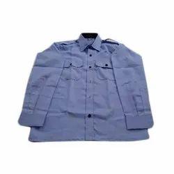 Blue Cotton Collar Neck Uniform Shirt