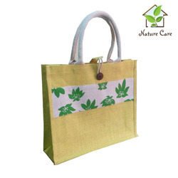 Jute Bag With Cotton Webbed Handle