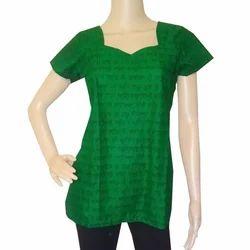 Green Warli Printed Short Top