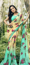 Floral Print Formal Wear Chiffon Sarees, With blouse piece, 6.3 m(with bluse piece)
