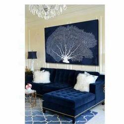 L Shape Navy Blue Designer Sofa Set