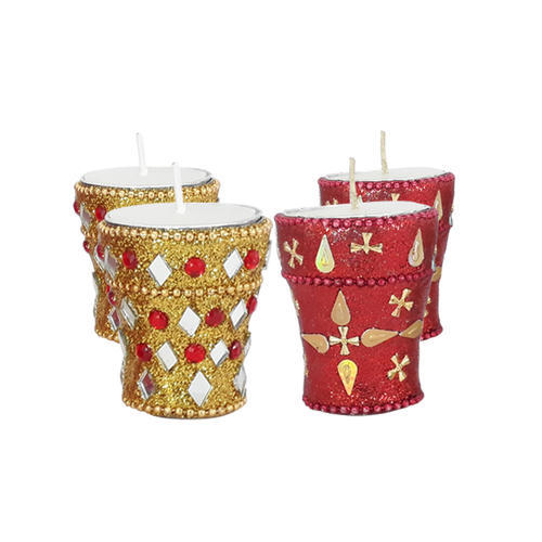 Handmade Candle Stand Designs : Benzara handmade silver glass pillar candle holder with ribbed