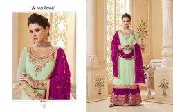 Georgette Suhani(6pcs ) Aashirwad Latest Embroidered Sharara Suit, Dry clean
