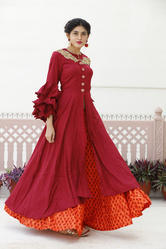 Partywear Embroidery Kurti With Skirt
