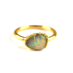 2.56 gm Fire Opal Faceted Gemstone Gold Plated Ring