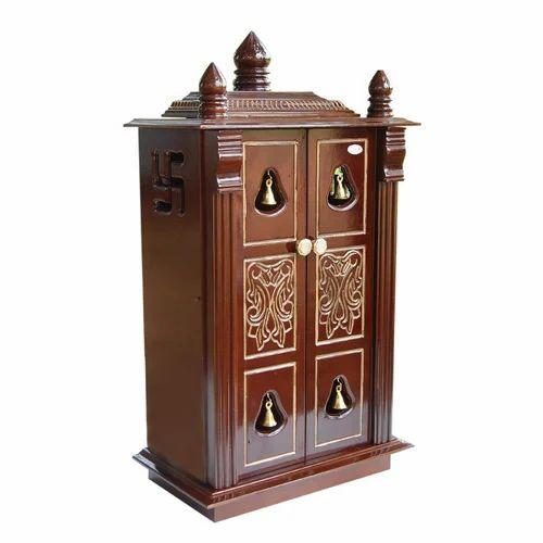 Brown Wooden Designer Pooja Cupboard