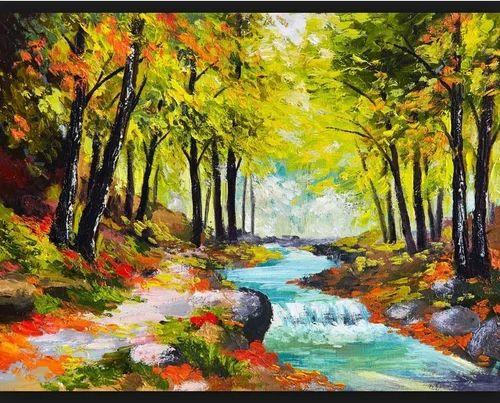 nature canvas painting at rs 3000 square feet canvas chitrakari