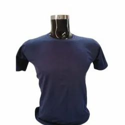 Cotton Mens Blue Plain T-Shirt