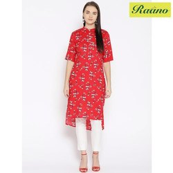 Women Red and White Printed Straight Kurta