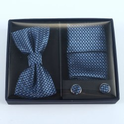 Metal Set Of Tie Cuff-link And Pocket Square