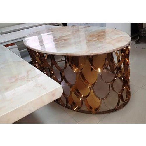 24 X 24 Coffee Table.Oval Marble Brass Coffee Table